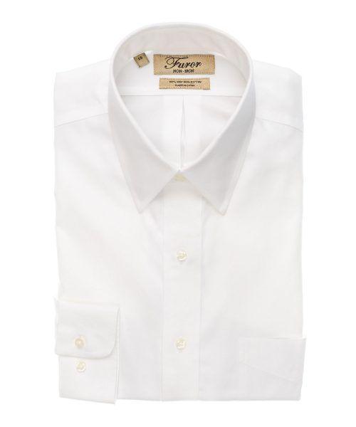 חולצה מכופתרת לגבר מותג פורור בצבע לבן צוארון קלאסי - גולד