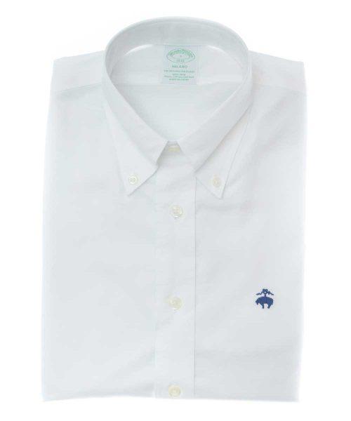 חולצה מכופתרת לגבר Brooks Brothers אוקספורד בצבע לבן